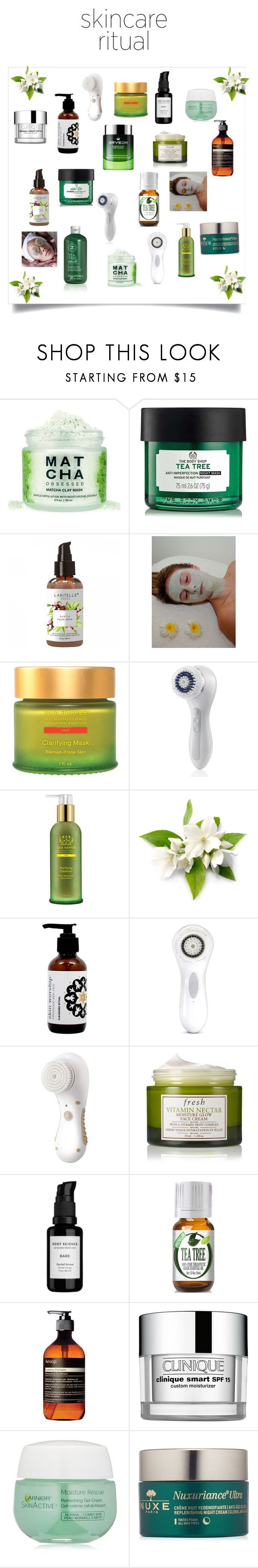 """""""Green Tea Skincare Ritual"""" by beautifulgodess ❤ liked on Polyvore featuring beauty, Tata Harper, Clarisonic, Fresh, Root Science, Aesop, Clinique, Garnier and Nuxe"""