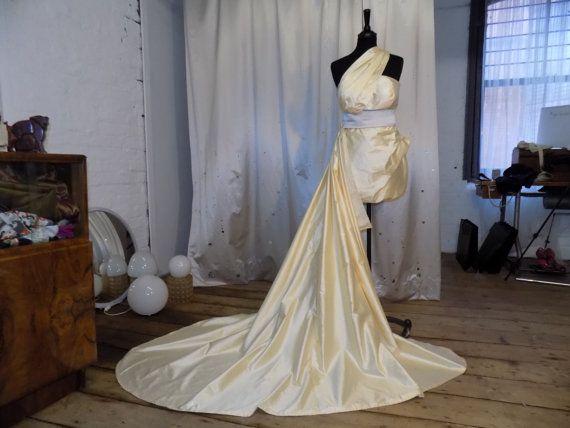 Bespoke, short, silk dupion draped wedding dress with detachable train