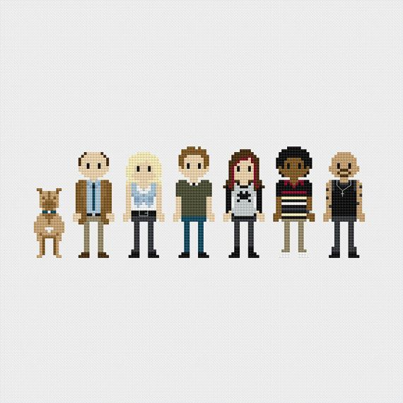 Veronica Mars (Backup, Keith Mars, Veronica Mars, Logan, Mac, Wallace, Weevil) inspired cross stitch pattern PDF instant download includes: