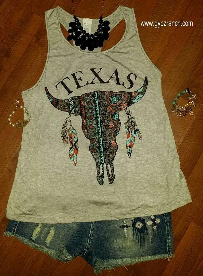 Proud Texan Grey Tank Top $18 www.gypzranch.com gypsy outfit