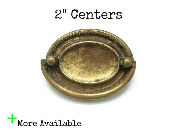 Vintage Drawer Pulls 2 Centers On Center Oval Handles