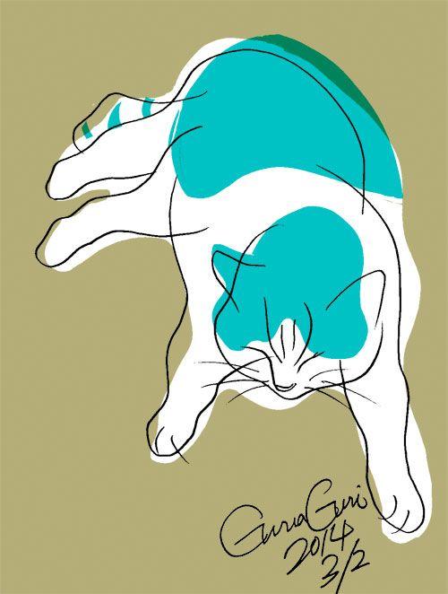 """イラストレーター森俊憲が描く猫のイラスト『GuraGuri』シリーズです。 シンプルな線と色面で構成することを心がけて現在修行中です。 It is the illustration """"GuraGuri"""" series of the cat which I am, and illustrator Toshinori Mori draws. I try to compose it of as to simple line and color and am training myself now."""