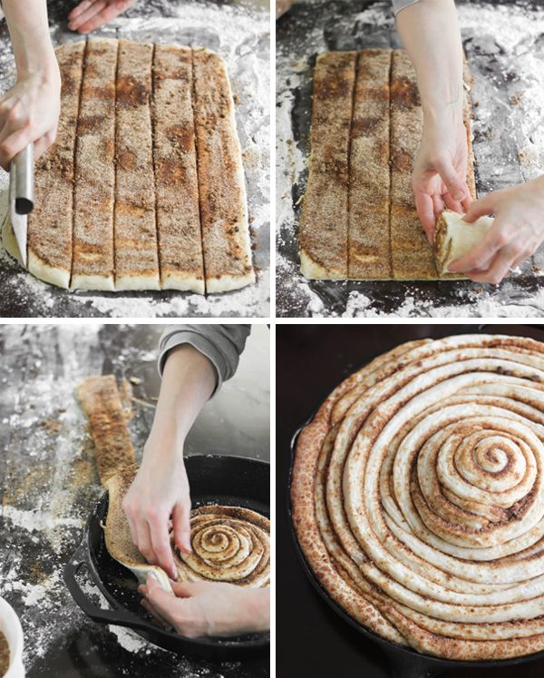 Giant Skillet Cinnamon Roll? Um, yes please!! Easy to adjust for your flavor preference, too.  Would be great slathered with Nutella and jam instead of cinnamon, too!