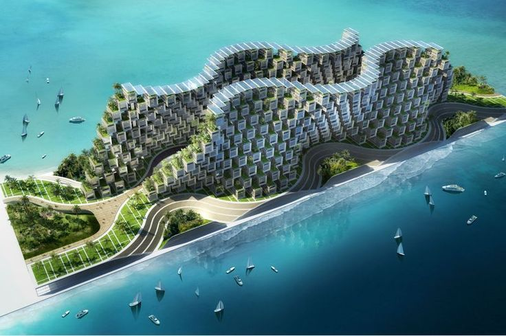 """The """"Coral Reef"""" (Coral Reef) project was conceived as a solution to relocate the victims of Haiti following the earthquake of 2010.  The shape inspired by natural coral, built on seismic piles in the Caribbean Sea would accommodate more than a thousand Haitian families."""