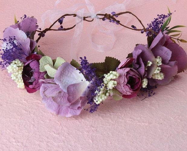 Purple & Mauve Floral Head Wreath, Baby Halo, Flowergirl, Gloral Head Crown, Wedding, Christening, Baby Floral Crown, Baby, Ladies