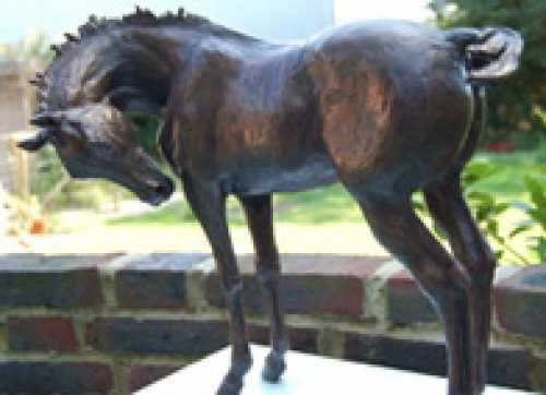 #Bronze #sculpture by #sculptor Marie Ackers titled: 'Lily (Horse Little Indoor Bronze sculpture statue for sale)'. #MarieAckers