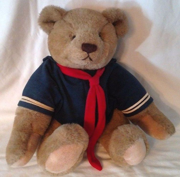 Gund - Bialosky & Friends Jointed Teddy Bear in Navy and white Sailor Outfit w/ red tie Tush Tag dated 1982 Large sturdy plush teddy bear with fully jointed with posable arms and legs. Light brown / t