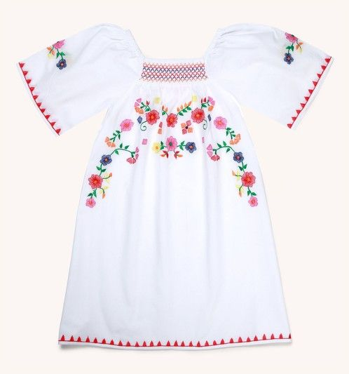 https://www.cityblis.com/4005/item/17284 | GIRLS MEXICANA EMBROIDERED DRESS - $72 by Sunuva | This chic summer dress in 100% cotton perfectly sums up boho-chic style. Inspired by global travel, it features a Mexican floral embroidery and multi-coloured smocking at the neck. Effortlessly chic, it's perfect for throwing on over swimwear or wearing for any summer occasion. | #Dresses