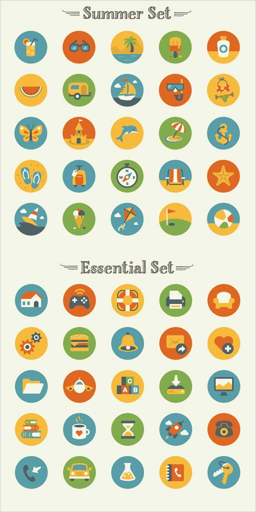 Freebie: Summer And Essentials Icon Set (50 Icons, EPS, AI, PNG