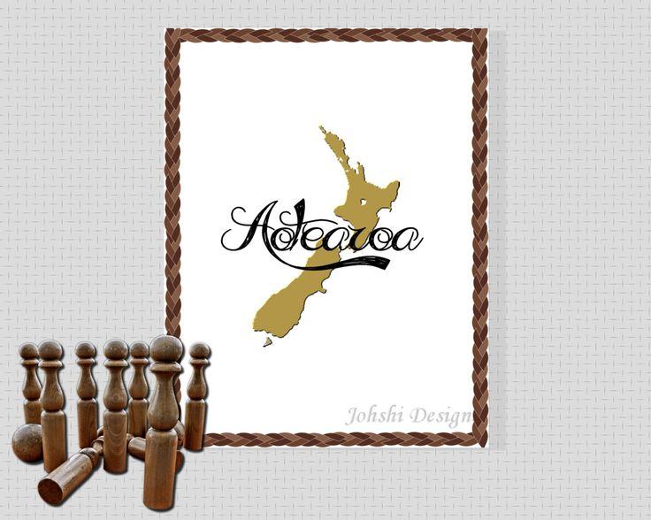 NEW ZEALAND print - Aotearoa.  Black White  and gold print. digital download - printable art.Wall decor by JohshiDesigns on Etsy