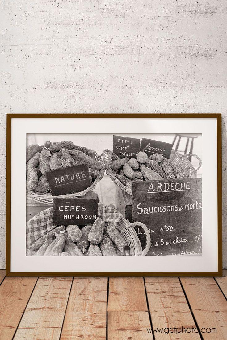 Kitchen decor idea! French market print in black & white. From $15 >>>