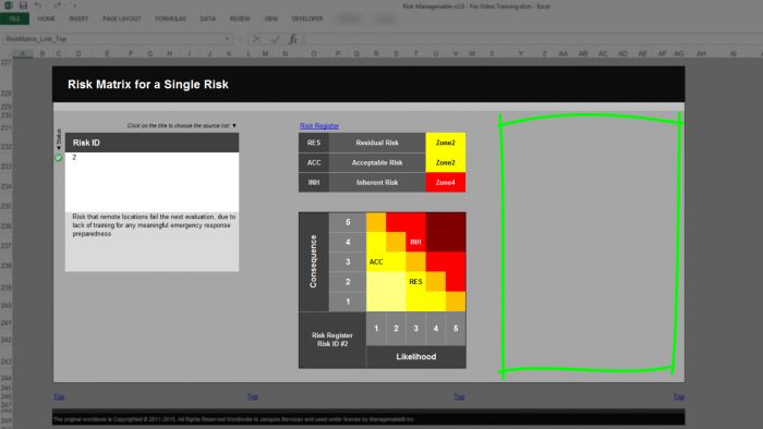Risk Template in Excel - Risk Heat Maps or Risk Matrix: for a Single Risk, No Control Assessments