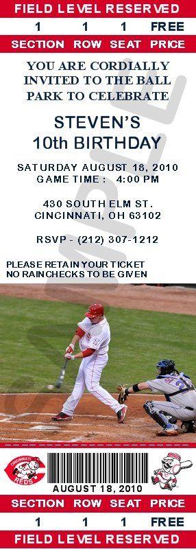 Cute, cute, cute! INVITATIONS - BASEBALL - Cincinnati Reds Ticket Invitations