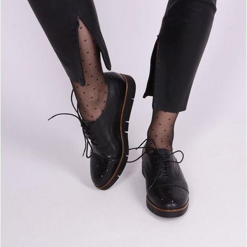 Pantofi Oxford negri din piele naturala Anica