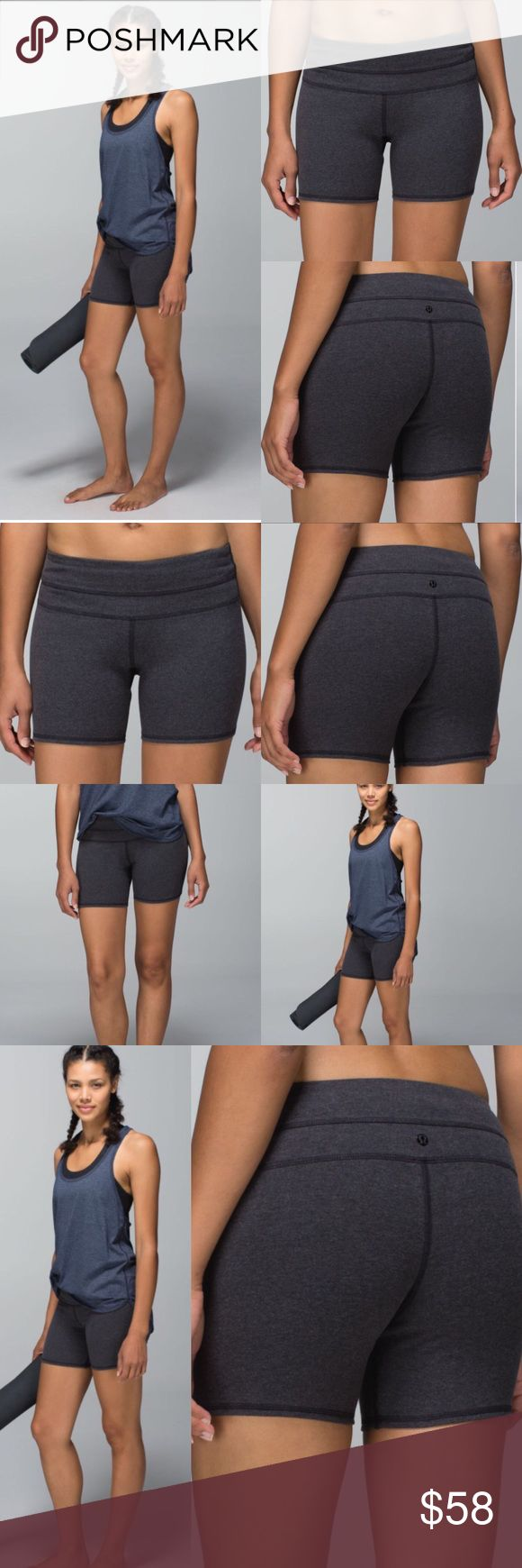 Lululemon💕Groove Cotton Heathered Black Shorts Lovely Lululemon Groove Short *Cotton in Heathered Black perfect for any activity!   Size 6  EEUC no flaws, snags,rips, or stains.  🚫trades//bundle and save!! lululemon athletica Shorts