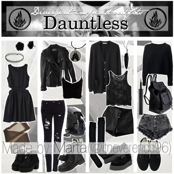 """Divergent inspired outfits: Dauntless"" by the-nerdy-tippers on Polyvore // I just like all the black okay"