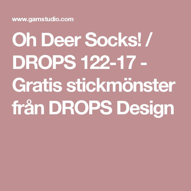 Oh Deer Socks! / DROPS 122-17 - Gratis stickmönster från DROPS Design