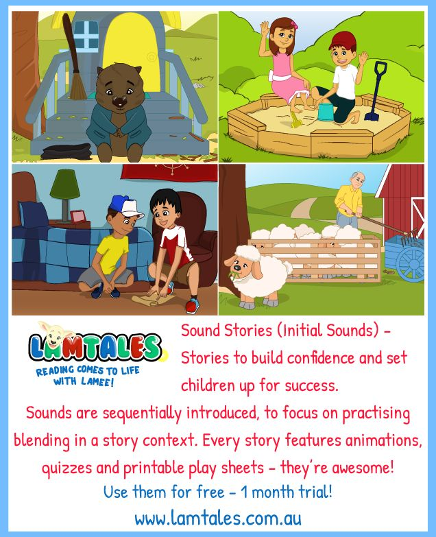 Check out Lamee's collection of Sound Stories!! These stories are AWESOME!! If your children can recognise individual sounds and are starting to blend them together, these stories are PERFECT for practising! And if they're struggling to transfer their skills over to readers, these stories are the perfect stepping stone. www.lamtales.com.au