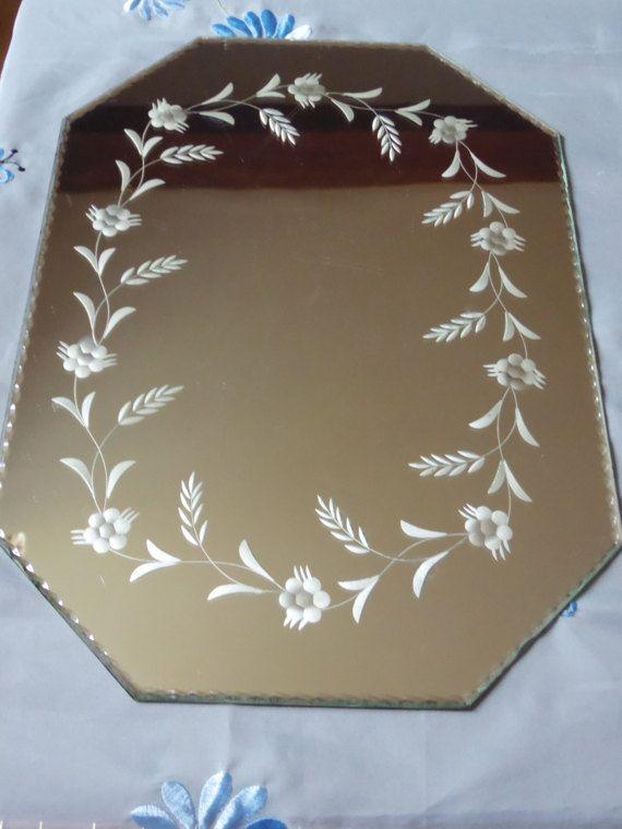 Miroir de table gravé et biseauté années 20/30 miroir