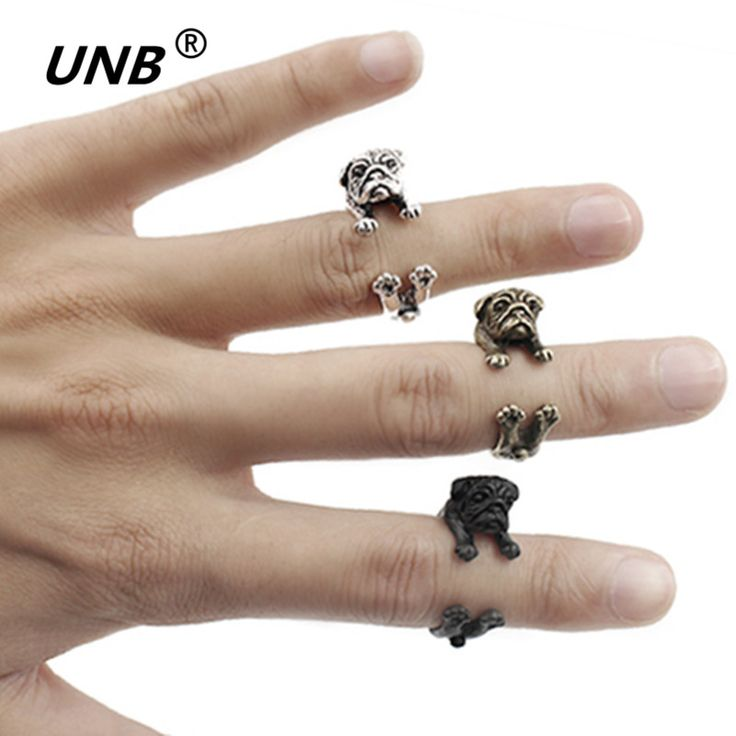 Love Famous Handmade Pug Dog Ring Fashion jewelry Animals Rings for Women Men Teens boho bague black ring anillos hombre aneis