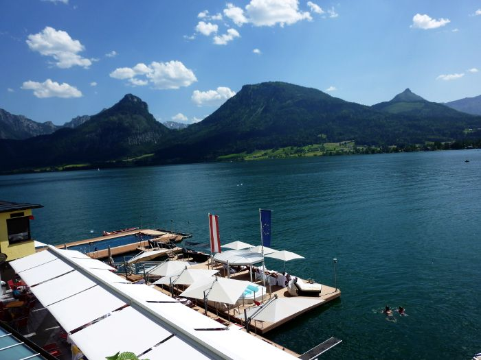 Swimming in a cold lake on a ridiculously hot day in St. Wolfgang, Austria