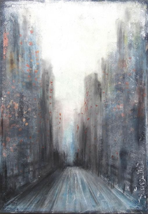 ARTFINDER: Sky scratches, early morning street by Dee Brown - Thank you for viewing this original artwork made by contemporary artist Dee Brown. It's a piece made in the sky scratches serie from Dee brown. The following...