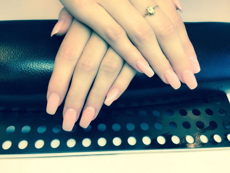 Kardashian inspired CND acrylic nails with OPI gel Samoan sand.