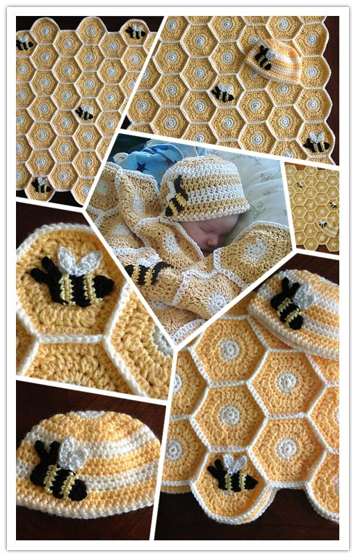 DIY crochet honey bee baby blanket and hat set pattern | DIY Tag
