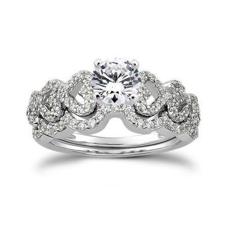 1.25CT Heart Shape Diamond Engagement Ring Wedding Bridal Band Set White Gold