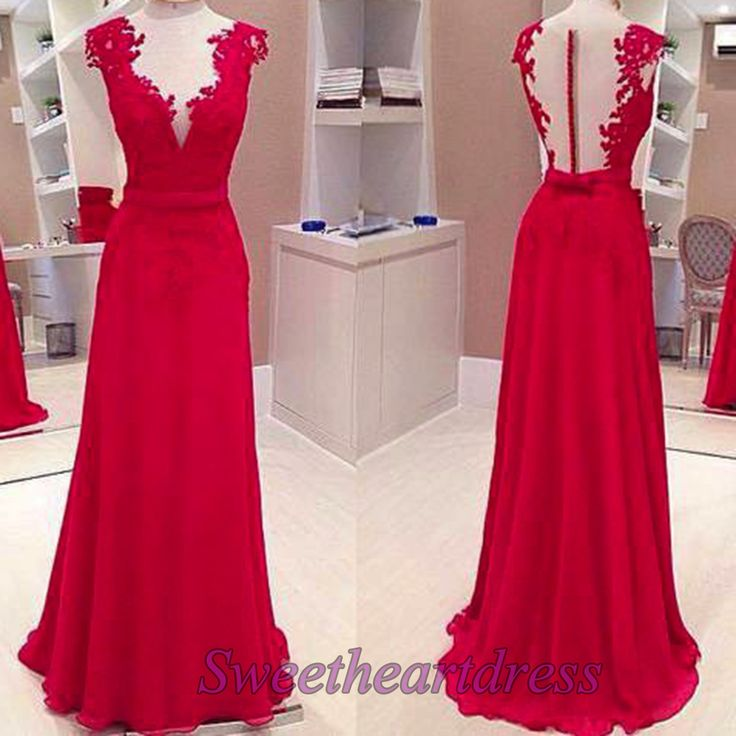 Elegant red lace chiffon long prom dress, short sleeve ball gown for 2016, cute dress for teens -> http://sweetheartdress.storenvy.com/products/13916961-elegant-red-lace-a-line-handmade-long-prom-dress-with-straps: