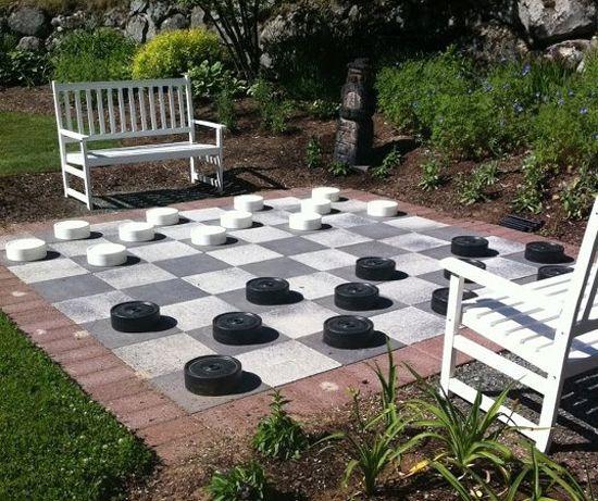 outdoor checkers board