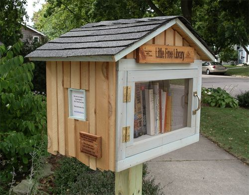 "Need a free library in your neighborhood? No problem!   ""Here's a cool project you can do with kids in your neighborhood. Founders Tod Bol, Rick Brooks, and the rest of the folks at Little Free Library are building, well, little free libraries! Inspired by Andrew Carnegie, who helped build 2,509 libraries around the world, Little Free Library plans to build 2,510 small, free lending libraries for public use…"""