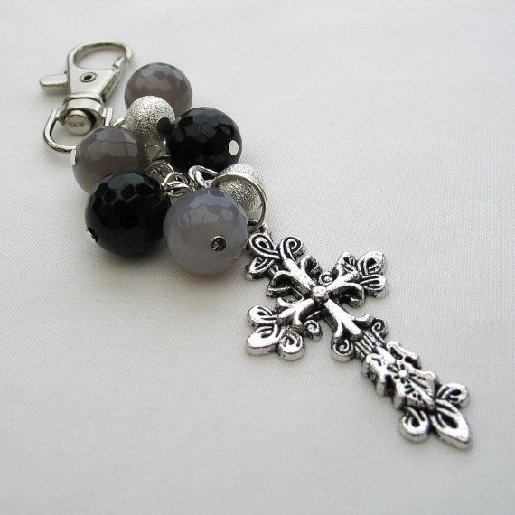 Purse Charm Bag Charm Cross with Gemstones Grey and by adiencrafts, $9.00