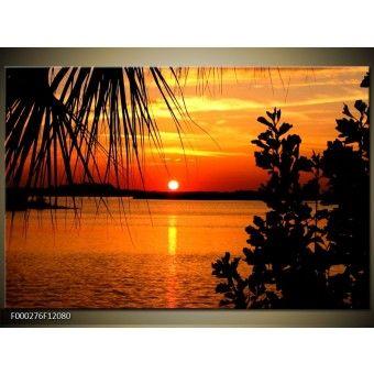 Narancssárga naplemente a partról vászonkép