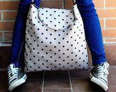 Borsa grande a pois/ Borsa minimal/ Borsa vintage/ Maxi bag