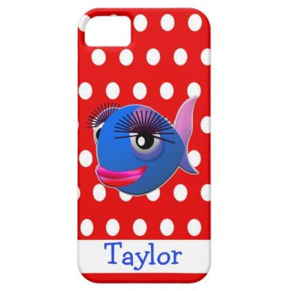 #Cute Funny Cartoon Fish Personalized Polka Dots iPhone SE/5/5s Case - #girly #iphone #cases