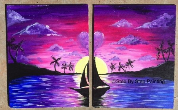 How To Paint Couples Tropical Sunset Painting Canvas Painting