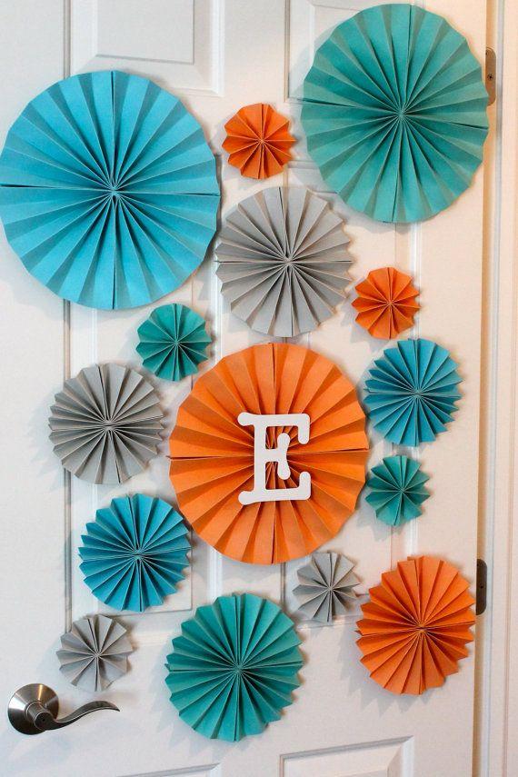 15 Paper Rosettes / Orange / Teal / Blue / by rachelpartydecor