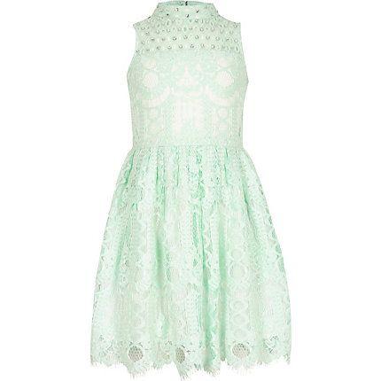 Girls green lace diamante prom dress £25.00