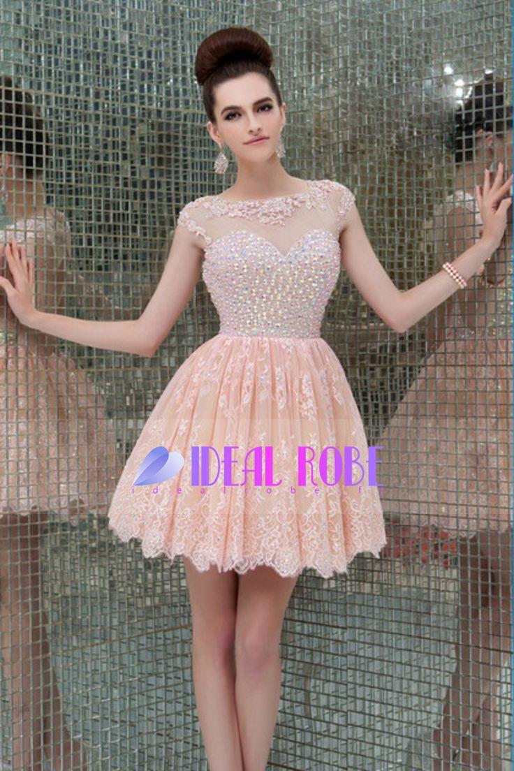 2016 encolure dos ouvert une ligne tulle et dentelle court / mini robes de bal