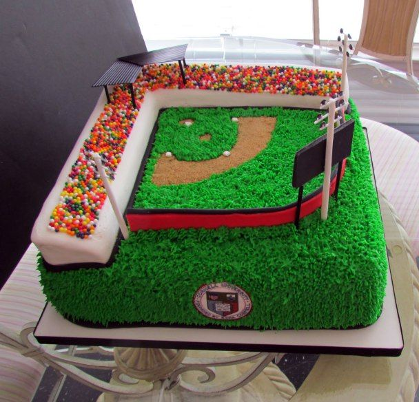 Baseball Party Inspiration Board by Bella Bella Studios ~ Wow!!!! I love this baseball field cake via Blovely Events #baseball #cake #party