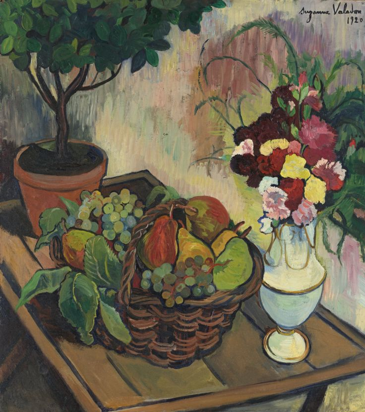 suzanne valadon french 1865 1938 nature morte au bouquet de fleurs et la corbeille de fruits. Black Bedroom Furniture Sets. Home Design Ideas