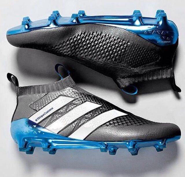 black,white and blue soccer cleats,made of adidas