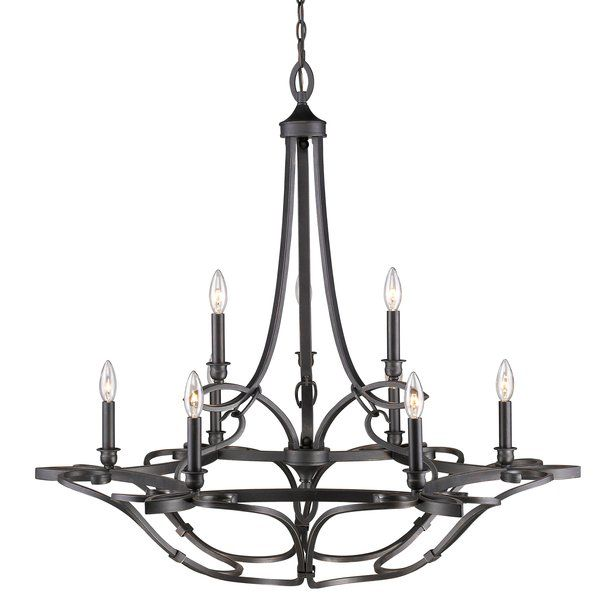 Energetic sweeps of metal twist and turn creating a delicate, work of art. The dark, hand-painted Aged Bronze finish is softened by warm bronze highlights. Simple candelabras add vintage flair completing the look of Old World elegance. From any angle, this collection is interesting and eye-catching. This chandelier is graciously sized for large areas. The metal scrollwork forms a basket beneath the 2-tier, 9-light chandelier, creating a dramatic focal point.