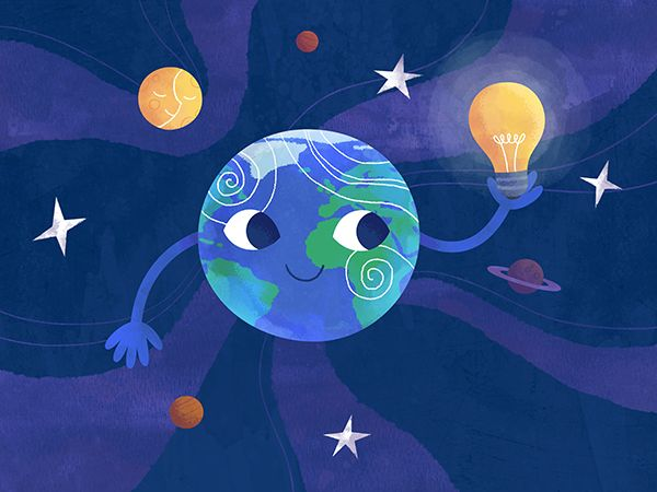 Earth hour / Час Земли #planet #space #earth #light #bulb #character #illustration