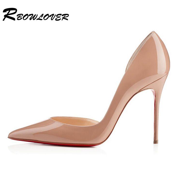 Женщины тонкий высокая на высоких каблуках точка палец на ноге красный нижний сексуальный пмфс лакированная кожа туфли на высоком каблукекупить в магазине RBOWLOVERнаAliExpress