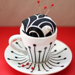 This clever little DIY turns your favorite espresso cup into a magnetic pin holder and cushion. Magnetic Pin cushions are kind of expensive, and I love to have several around - can't wait to try this!