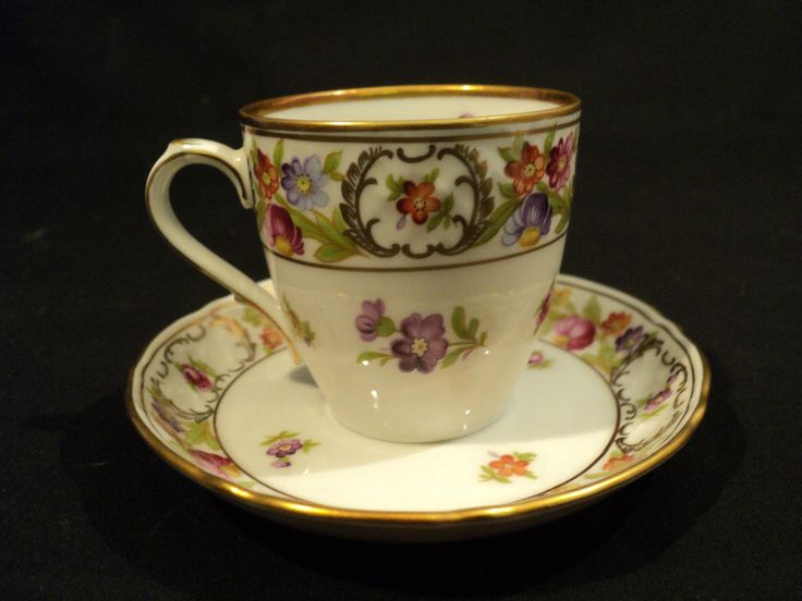 """Each piece is marked """"Bavaria"""" with trademark stamp and """"Schumann, Arzberg, Germany"""" and """"Empress, Dresden Flowers"""" on the base. This beautiful demitassse cup and saucer is decorated with colorful florals on a white ground with gold embellishment.   eBay!"""