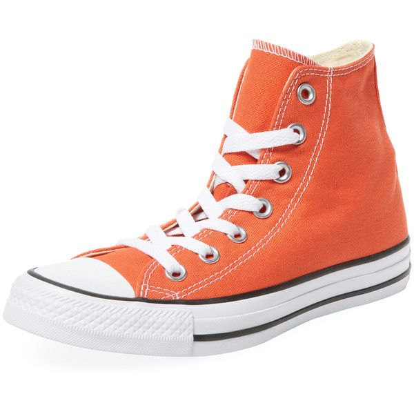 Converse Women's Chuck Taylor All Star Hi-Top - Orange ($39) ❤ liked on Polyvore featuring shoes, sneakers, orange, high top sneakers, orange high top sneakers, platform shoes, high top trainers and converse sneakers
