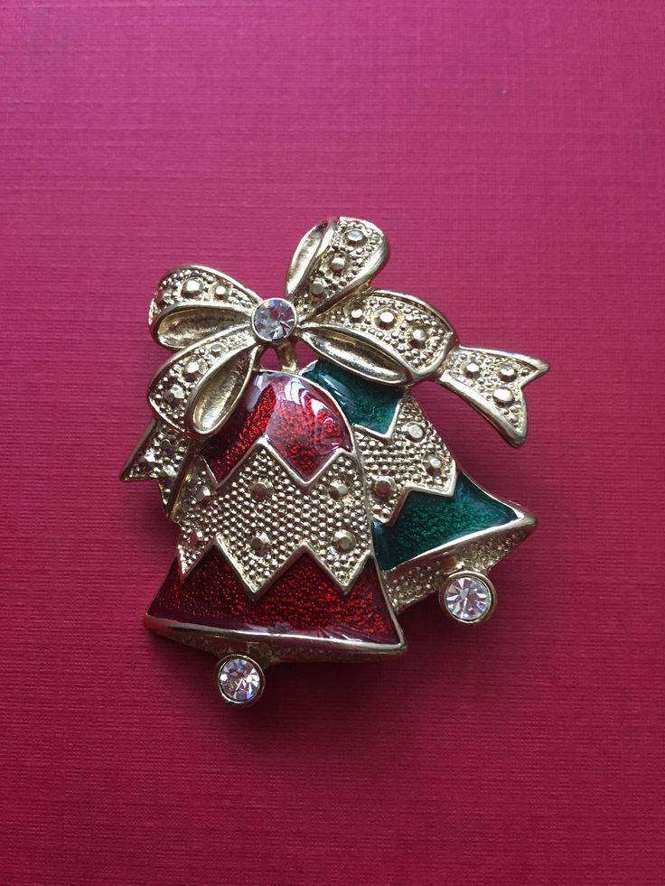 Christmas Bells Holiday Pin Festive Bright Brooch Red Green Enamel Gold Clear Glass